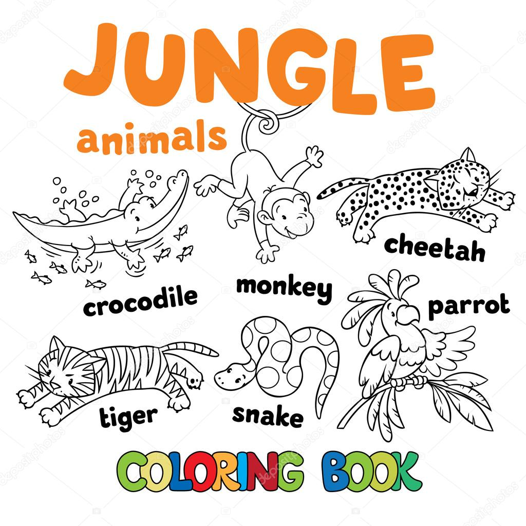 1024x1024 Set Of Funny Jungle Animals Coloring Book Stock Vector