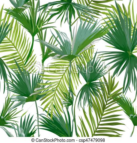 450x470 Tropical Palm Leaves, Jungle Leaves Seamless Vector Floral Eps