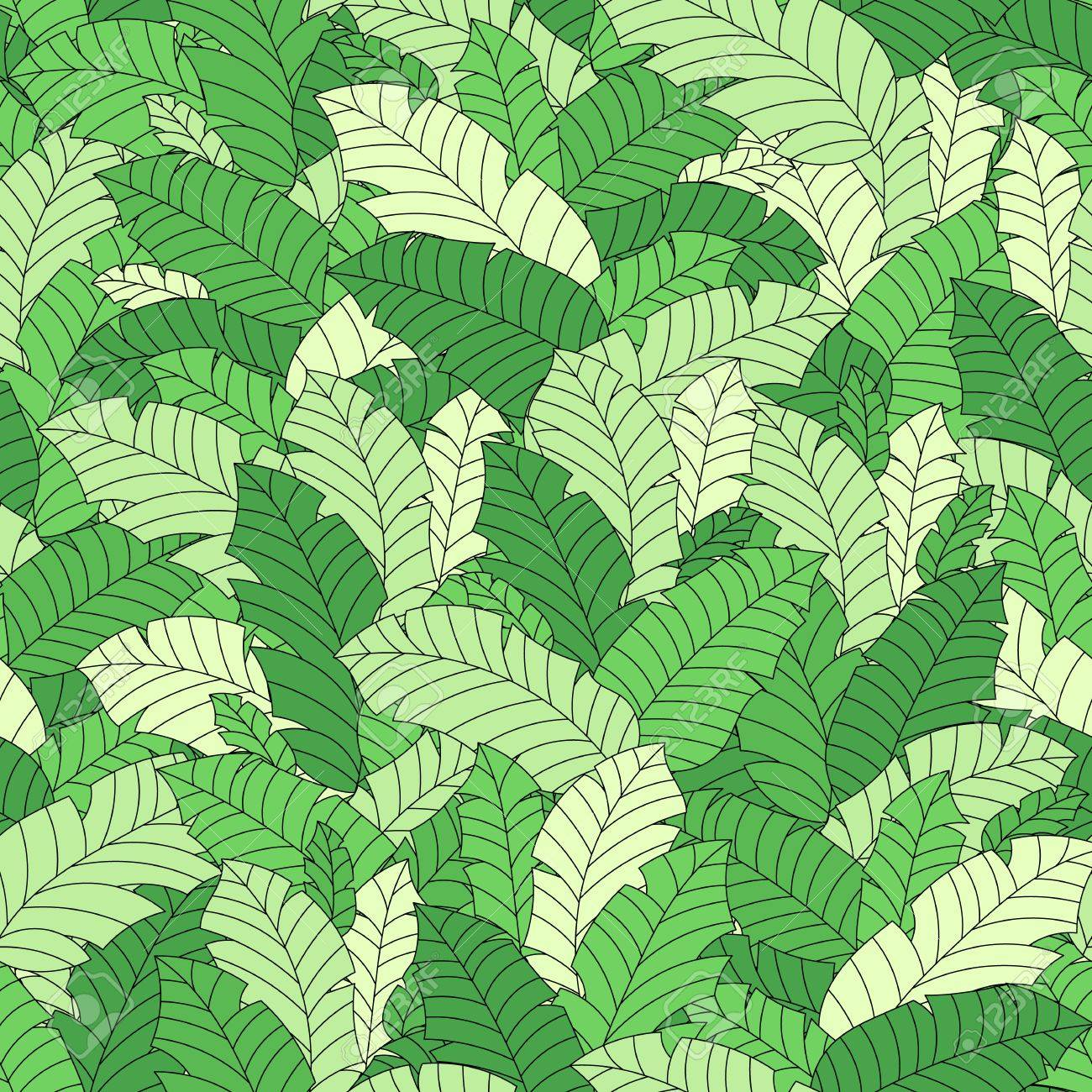 1300x1300 Vector Tropical Leaves Seamless Hand Drawn Pattern. Plant Floral
