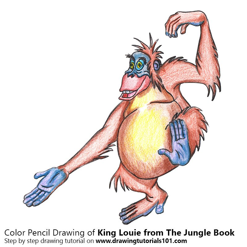 800x800 king louie from the jungle book colored pencils