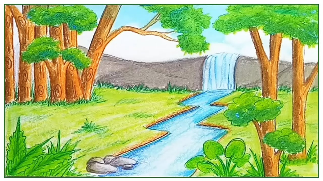 1280x720 How To Draw Scenery Of Rainforest Step By Step