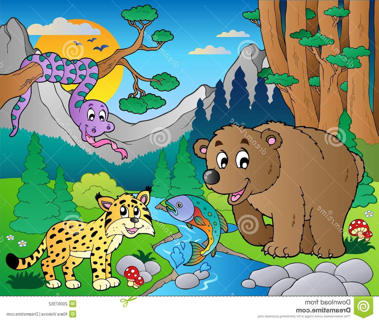 1300x1106 Jungle Drawing With Wild Animals Forest Scene With Various Animals