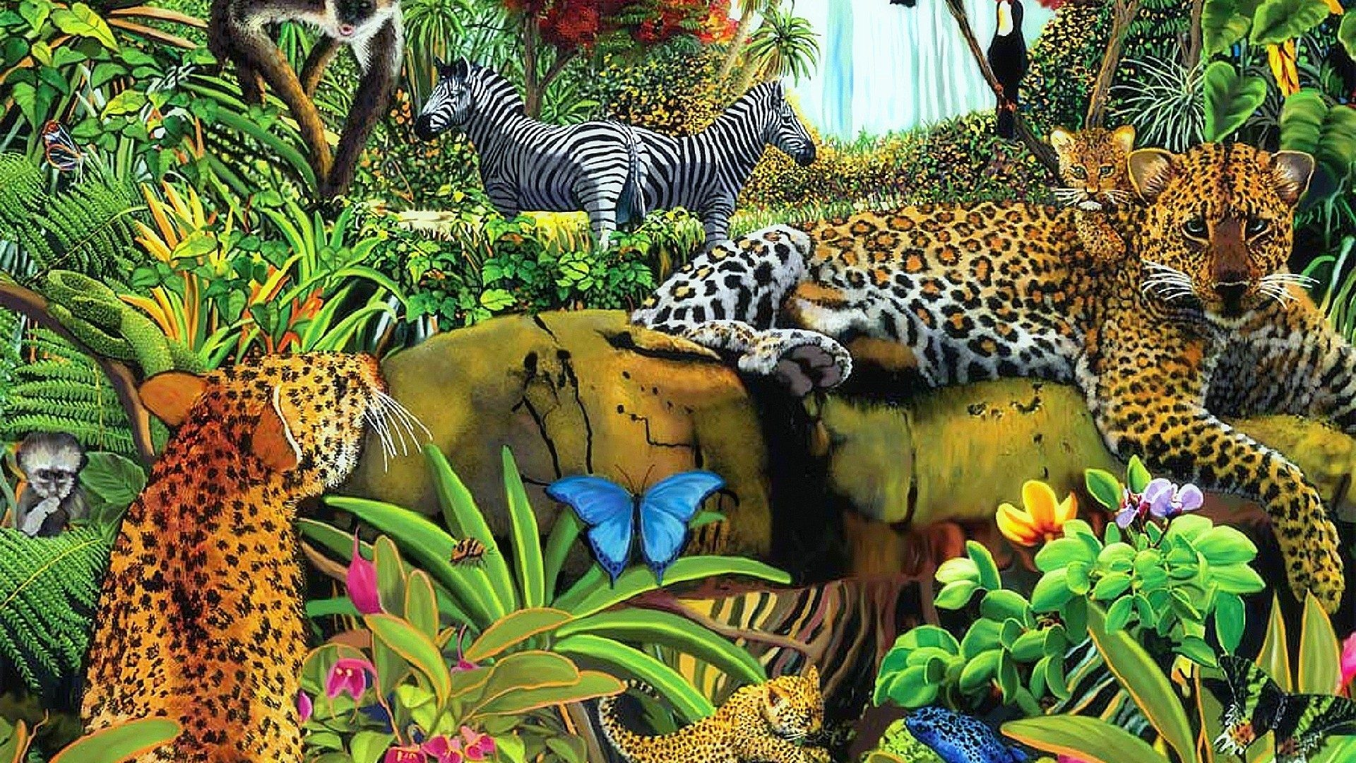 1920x1080 Drawings Tag Wallpapers Wildlife Lovely Paintings Colors
