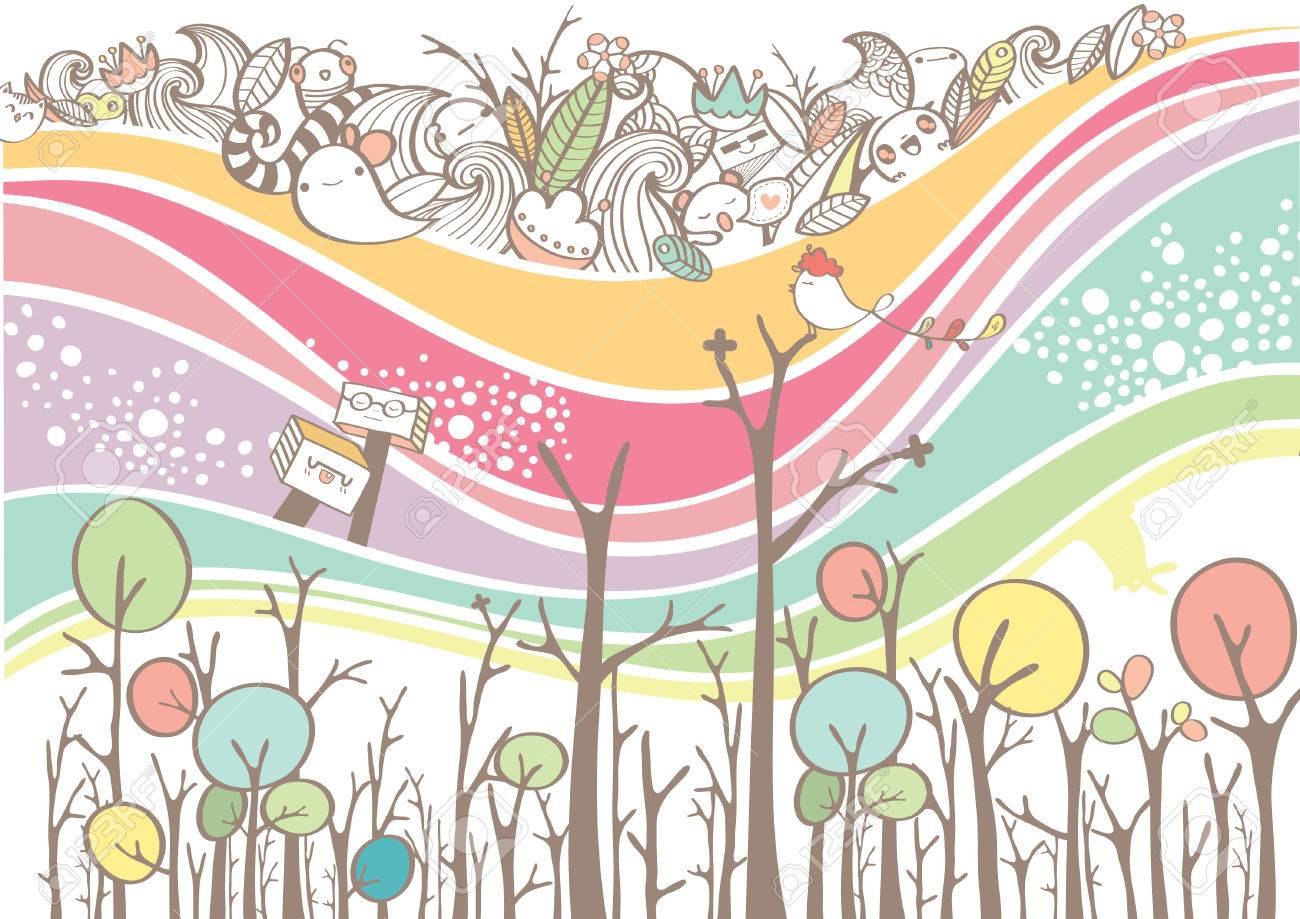 1300x919 Colorful Wave Lines Background With Cute Doodles And Jungle Tree