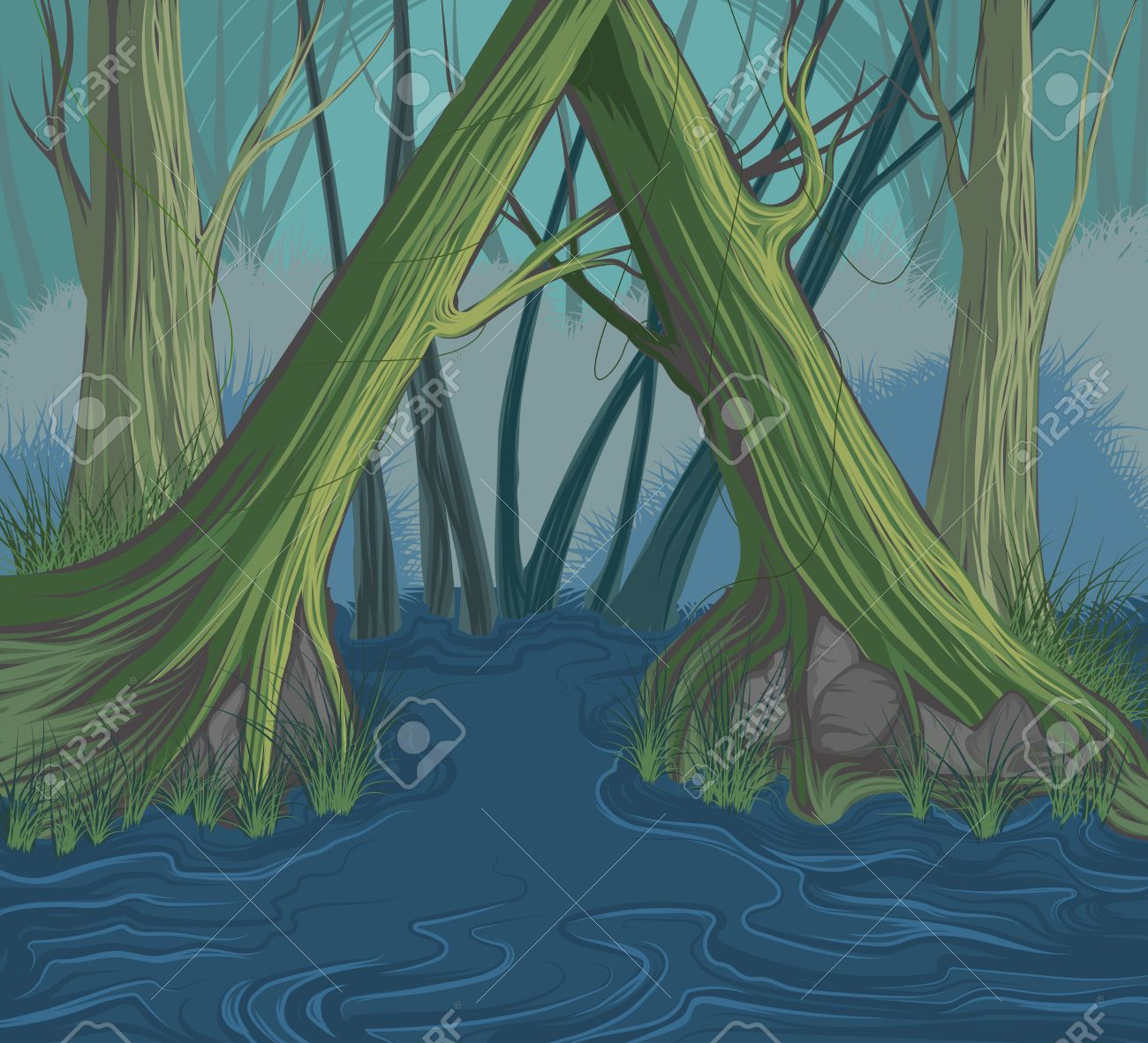 1300x1181 Trees And River Scene Vector Hand Drawing Nature Background