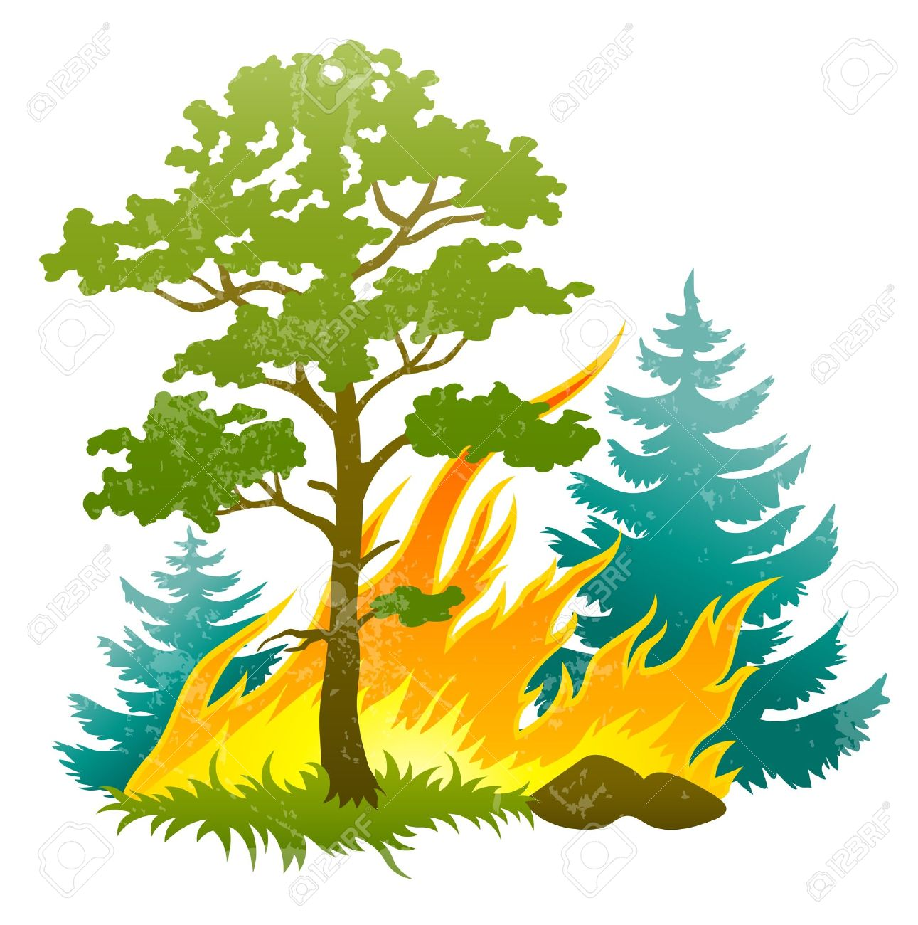1291x1300 Wildfire Disaster With Burning Forest Tree And Fir Trees