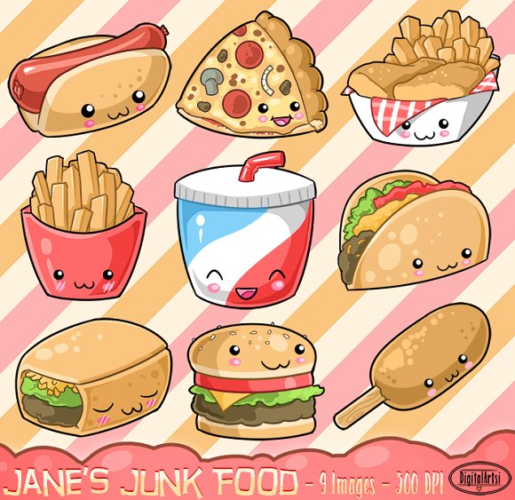 580x563 Kawaii Junk Food Clipart Food Clipart, Junk Food And Kawaii