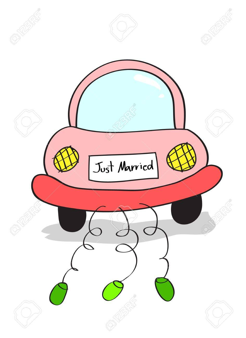 945x1300 Hand Drawing Illustration Of Just Married On Car Driving Cartoon