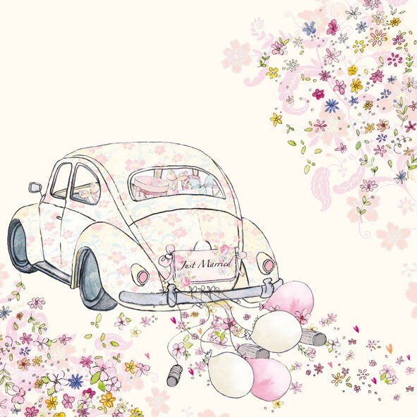 591x591 Just Married Car Cans Luncheon Paper Napkins Vintage Wedding