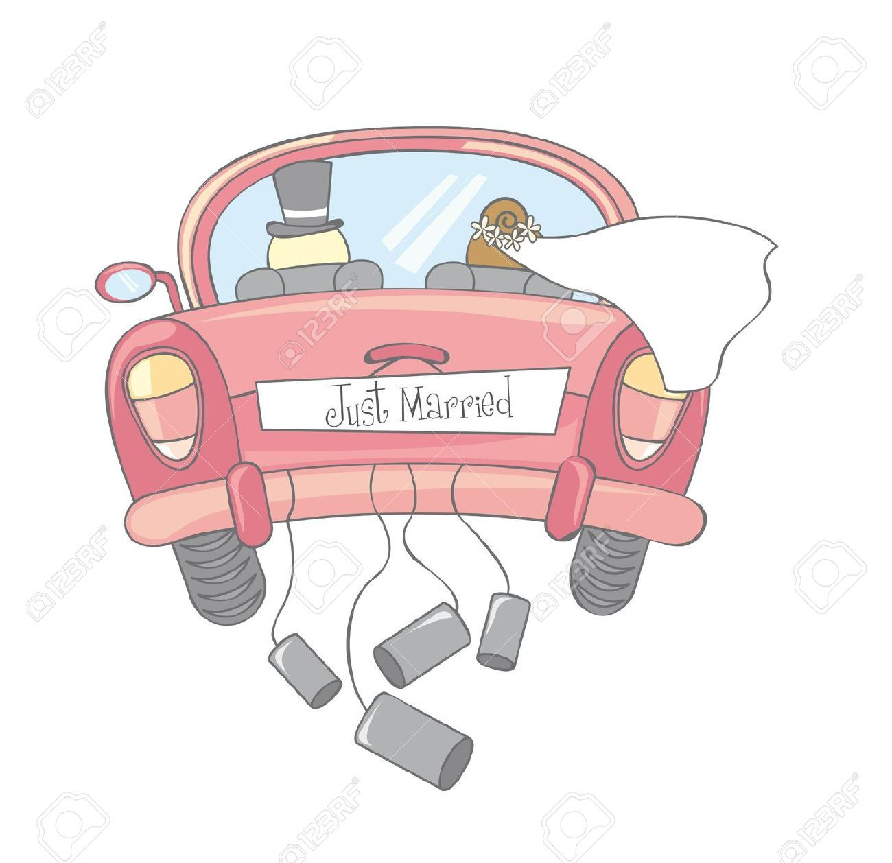 1300x1258 Just Married Car Isolated, Vintage Royalty Free Cliparts, Vectors