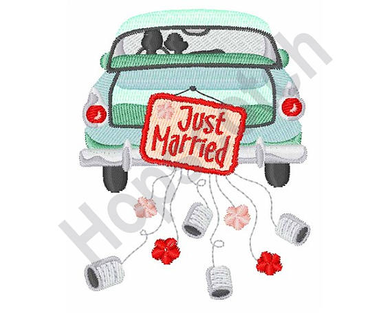 570x456 Just Married Car Machine Embroidery Design