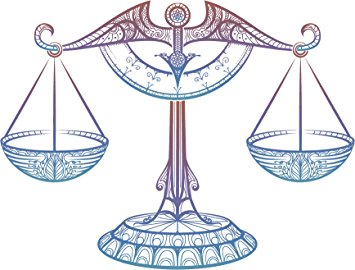 355x270 Blue Pink Ombre Lady Justice Weighing Scales Drawing
