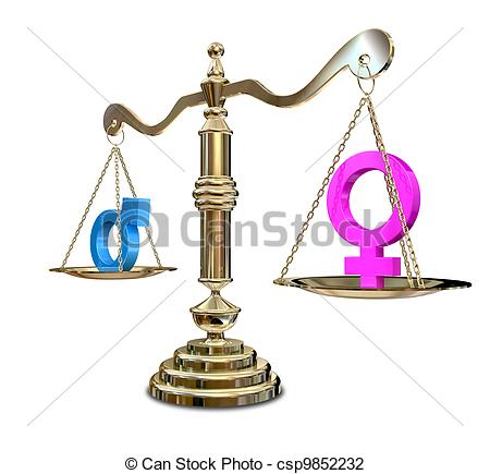 450x435 Gender Inequality Balancing Scale. A Gold Justice Scale