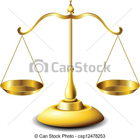 450x447 Golden Scales Of Justice With Balanced Plates Clipart Vector