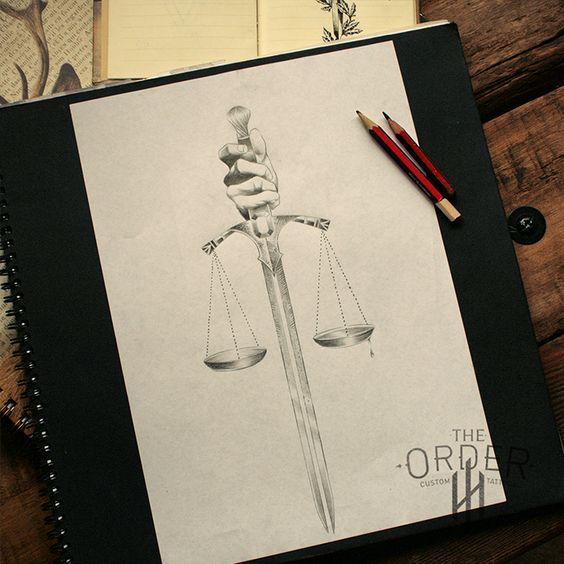 564x564 Sword With Justice Scales Drawing Sketch Libra Tattoo