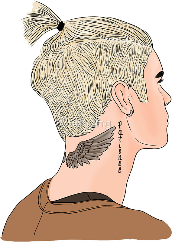 569x800 Justin Bieber Ponytail Drawing By Outlyning Designs
