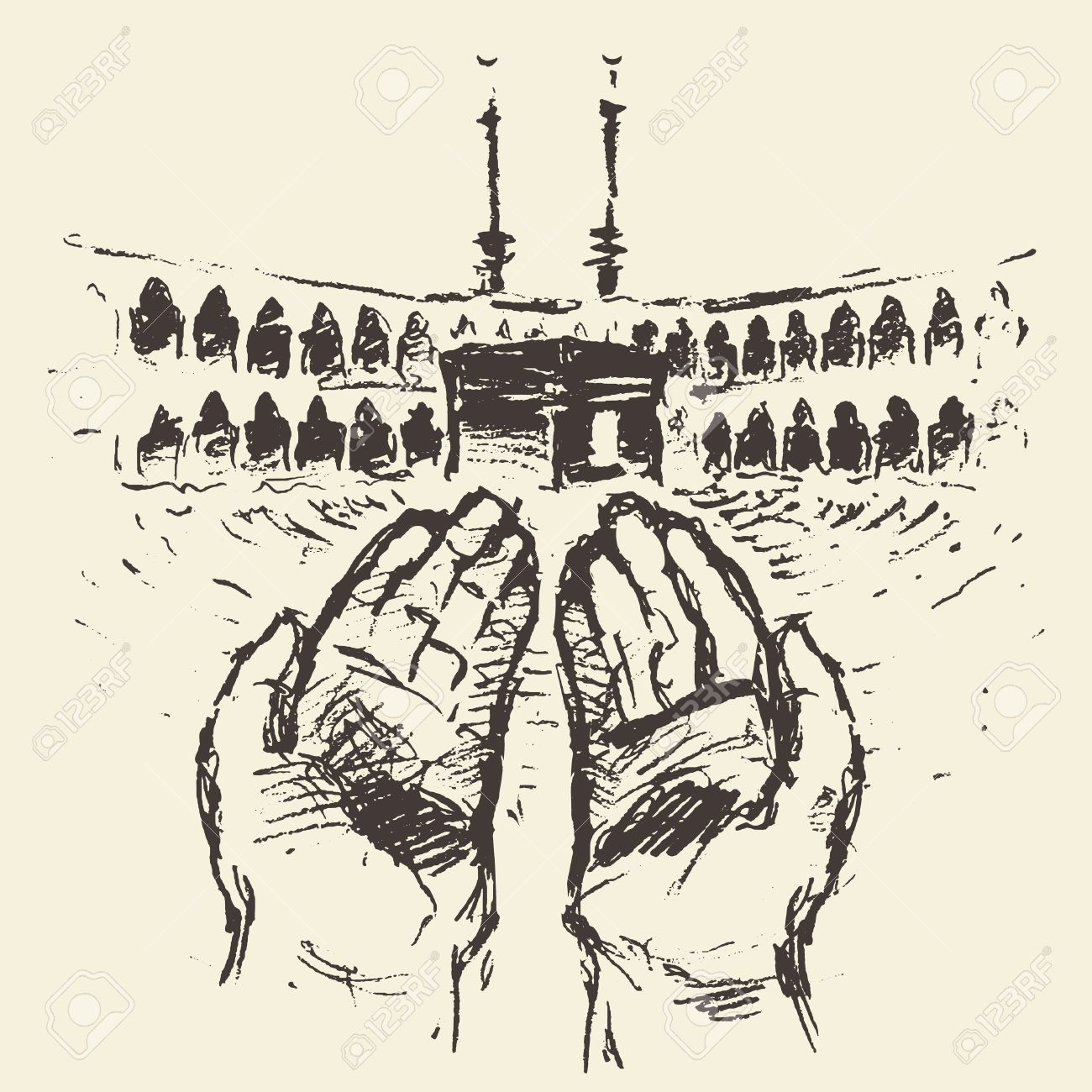 1300x1300 Holy Kaaba In Mecca Saudi Arabia With Praying Hands Vector