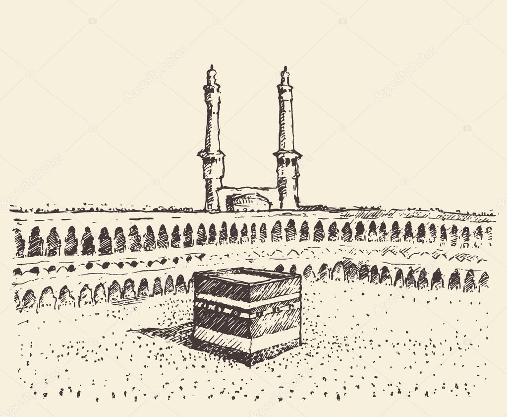 1023x840 Holy Kaaba Mecca Saudi Arabia Muslim Sketch Stock Vector Grop