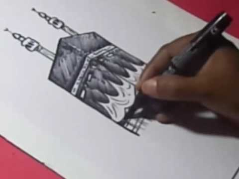 480x360 How To Draw Kaaba Drawing Step By Step For Kids Youtube