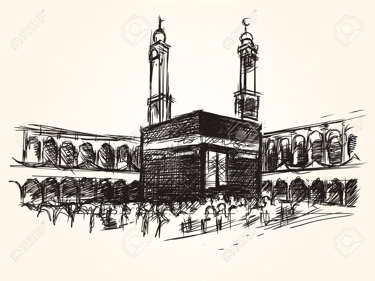 1300x974 Kaaba Holy Symbolic Building In Islam Vector Sketch Drawing
