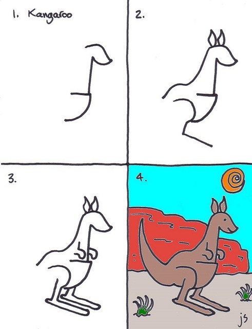 491x640 How To Draw A Kangaroo For Kids Art For Kids