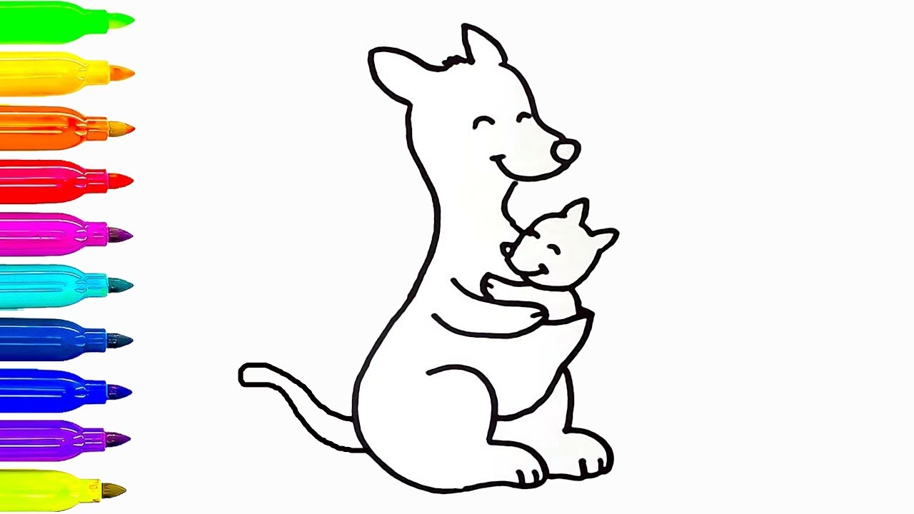 1280x720 Baby And Mom Kangaroo Drawing For Kids Coloring Book Learn