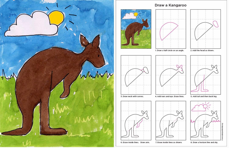 1500x970 Draw A Kangaroo Art Projects For Kids Kangaroos Australia And