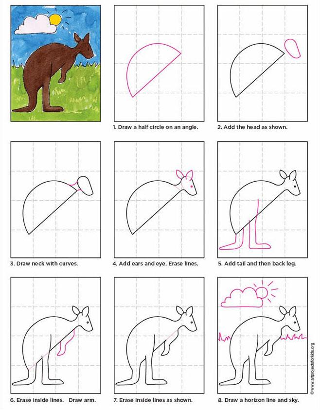 658x844 How To Draw A Kangaroo
