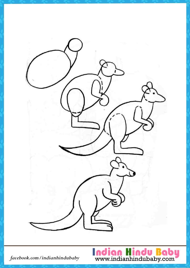 724x1024 Kangaroo Step By Step Drawing For Kids Indian Hindu Baby