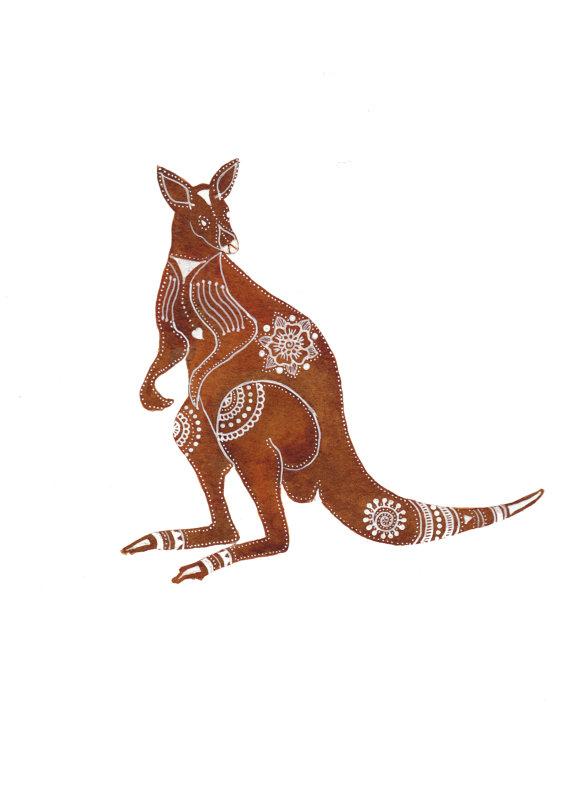 570x786 Redbrown Kangaroo Archival Art Print By Magamerlina On Etsy