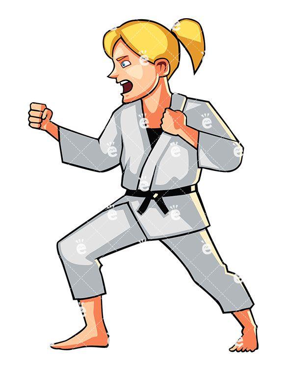 585x755 A Shouting Young Woman Doing Karate