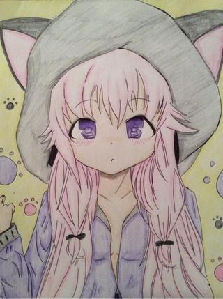 320x429 Drawing color sketch cute kawaii anime manga pink neko emo eyes