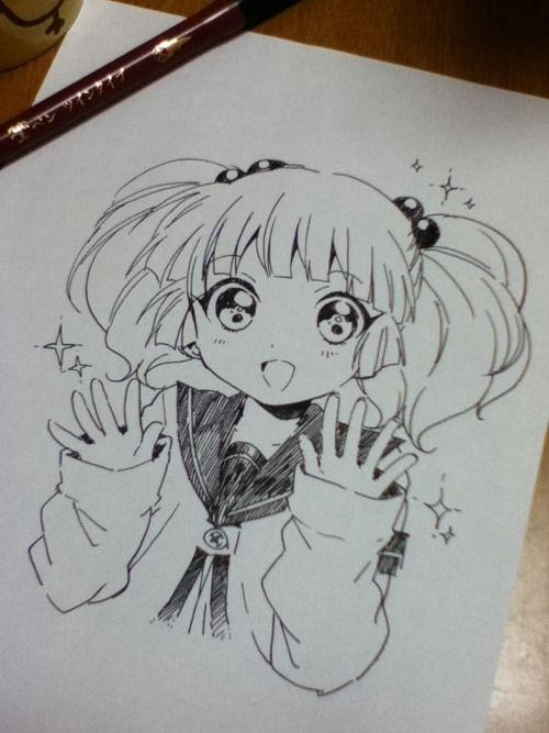 500x667 Anime Art Anime Girl. Big Eyes. Twin Tails. Seifuku