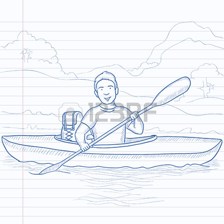450x450 Young Traveling Man Riding Kayak On The River With Skull