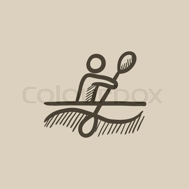 800x800 Man Kayaking Vector Sketch Icon Isolated On Background. Hand Drawn