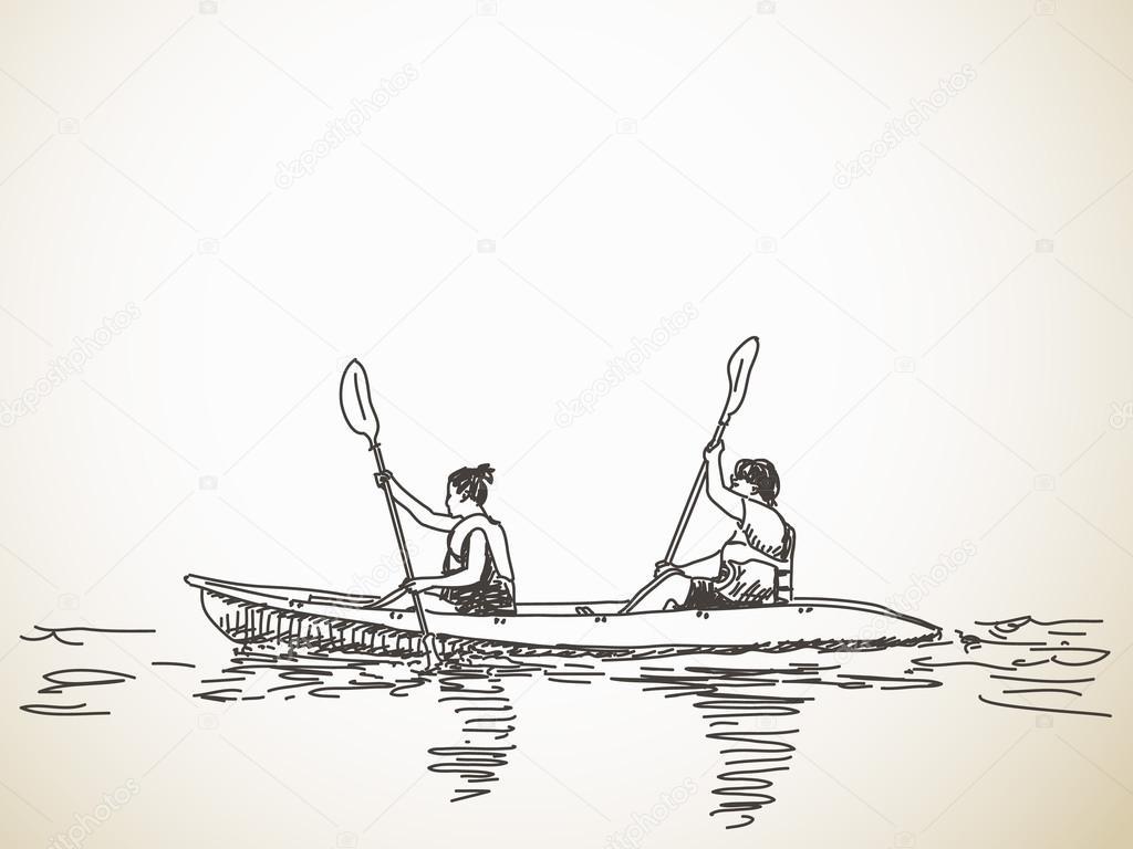 1024x768 Sketch Of Kayaking People Stock Vector Olgatropinina