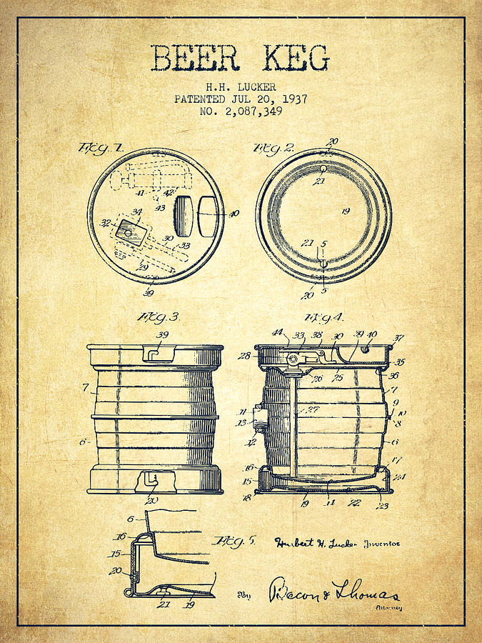 675x900 Beer Keg Patent Drawing From 1937