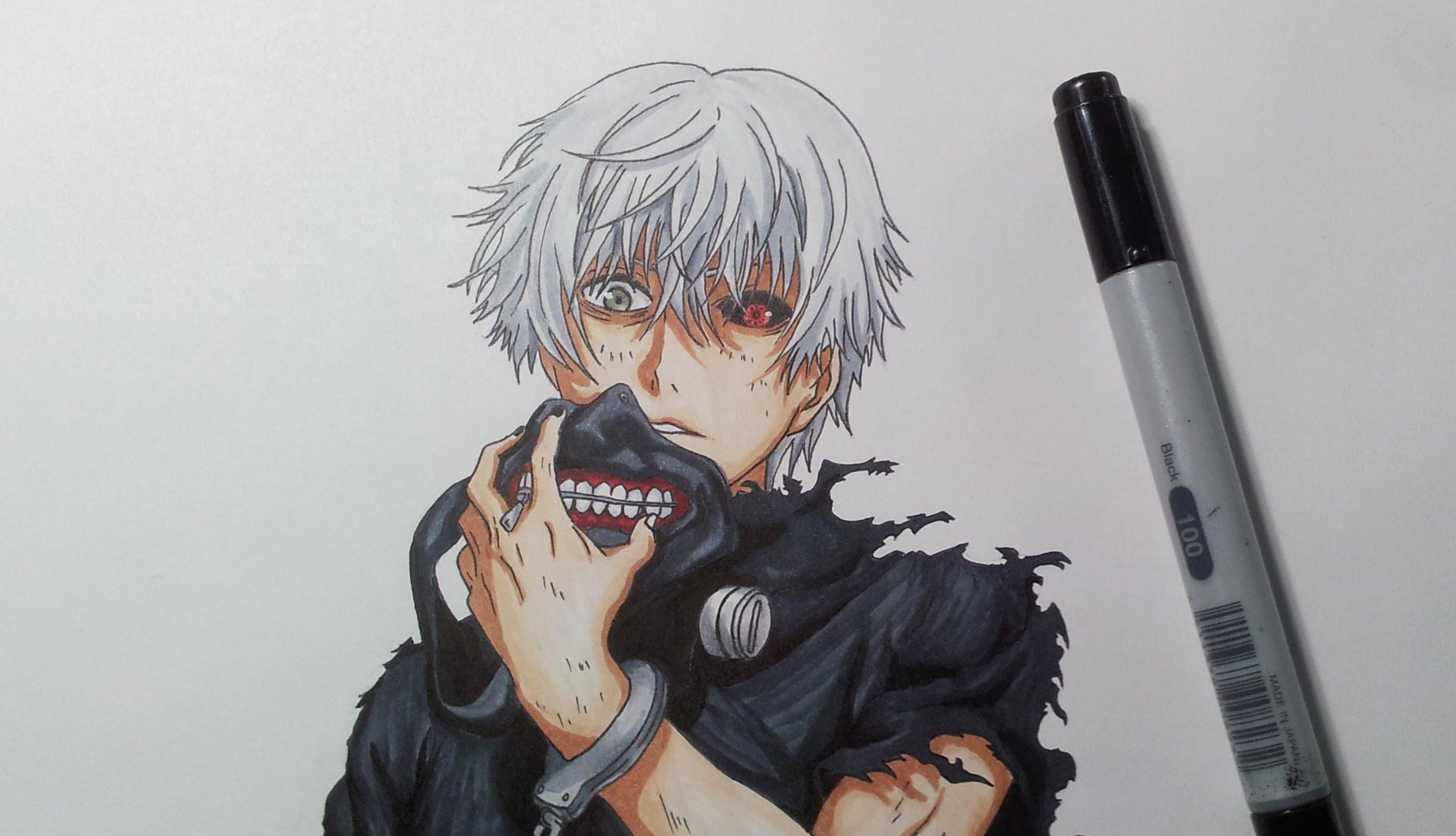 2446x1406 Drawing Kaneki Ken From Tokyo Ghoul