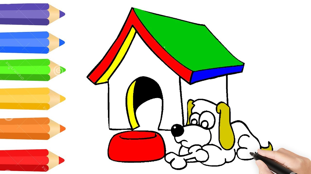 1280x720 Coloring Pages For Kids With Dog House How To Draw A Kennel Learn
