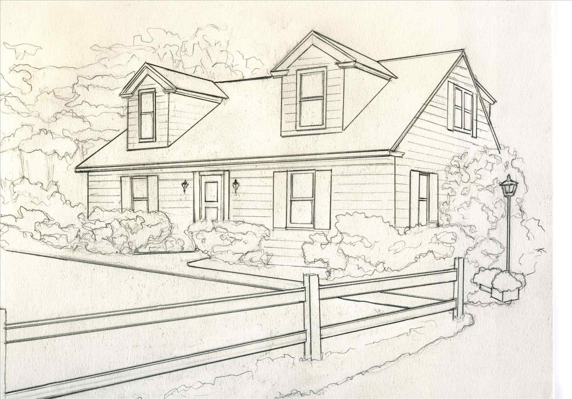1900x1326 Cute Little House Drawing Wall Maxx