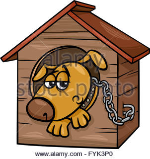 302x320 Vector Drawing Of The Dog In Kennel On White Background Stock
