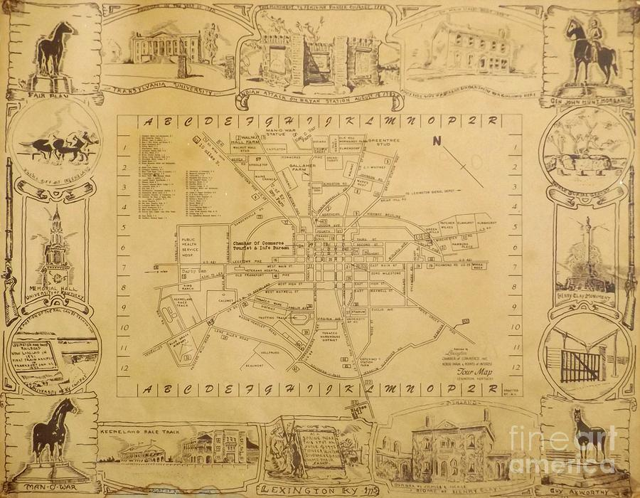 900x700 Historic Map Of Lexington Kentucky Drawing By David Neace