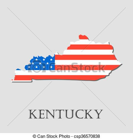450x470 Map State Of Kentucky In American Flag