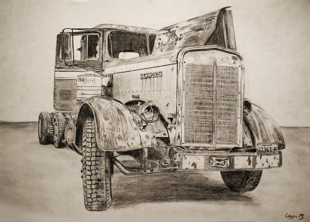 1024x734 50s Kenworth Drawing By Darstrom