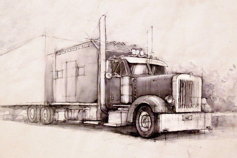 800x534 Pencil Drawings Of Semi Trucks Kenworth Truck Drawings Trucks