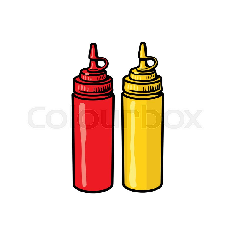 800x800 Blank, Unlabelled Fast Food Plastic Bottles Of Ketchup And Mustard