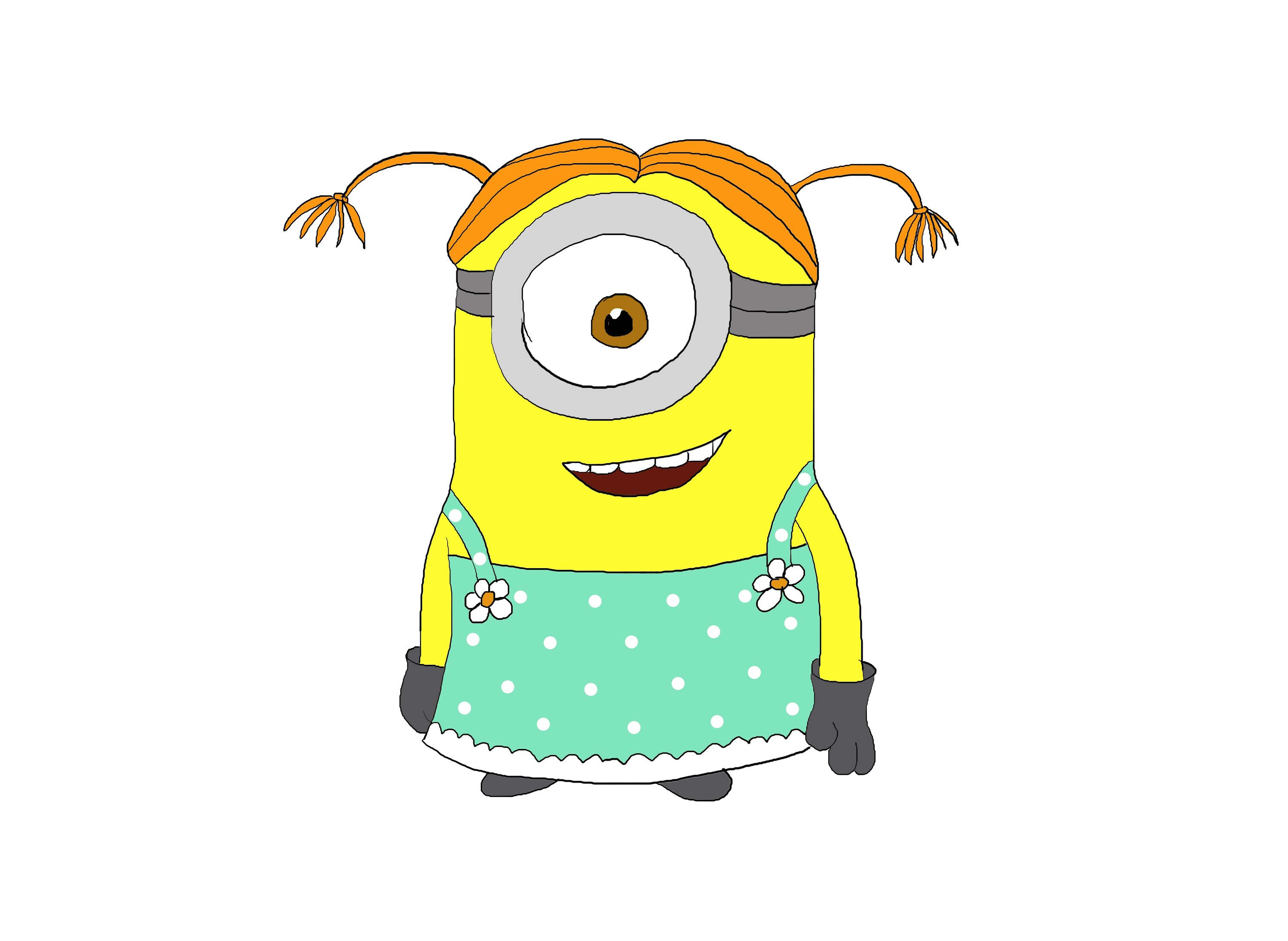 3000x2191 Step By Step Girl Minion. Despicable Me. How To Draw A Easy