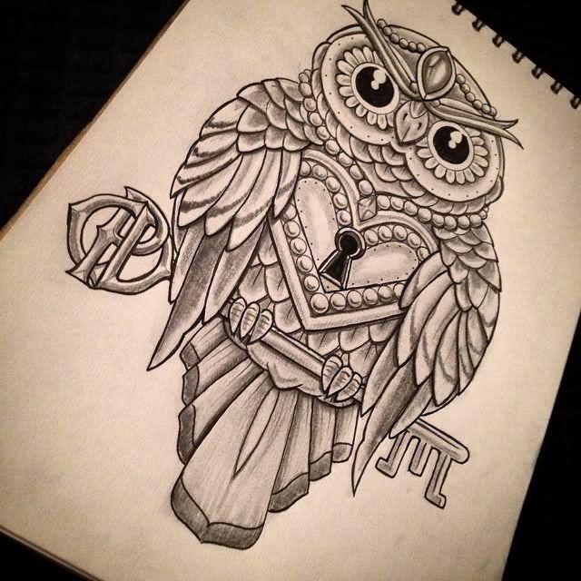 640x640 Amazing Owl Lock With Key Tattoo Design.jpg Ideas