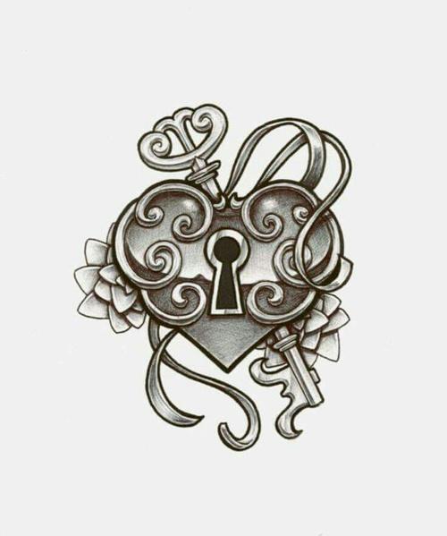 500x599 Heart Lock Amp Key Drawing On We Heart It
