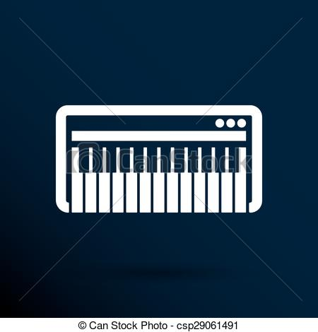 450x470 Black Synthesizer Keyboard Piano Music Icon Vector. Eps Vectors